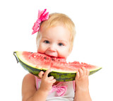 Little girl eating watermelon isolated on white background