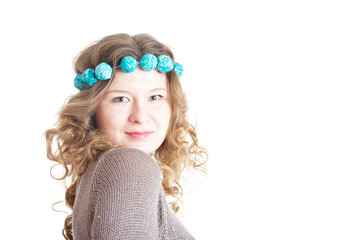 Dark blond curly-headed girl