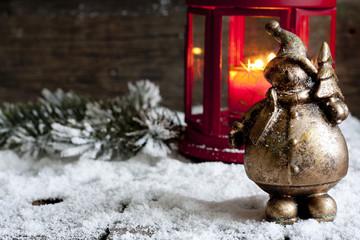 Santa Claus on vintage Christmas background  and lantern