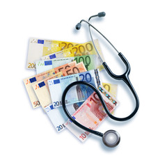 Stethoskop und Euroscheine
