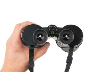 Man holds binoculars