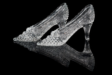 Pair of woman crystal shoes