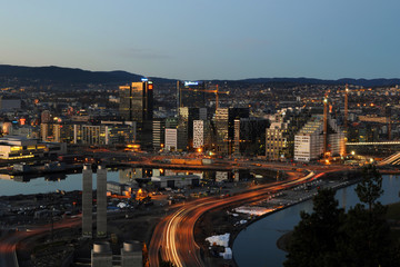 Business district of Oslo in the evening