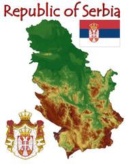 Serbia Europe national emblem map symbol motto