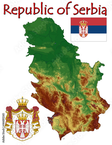 Serbia Europe national emblem map symbol motto