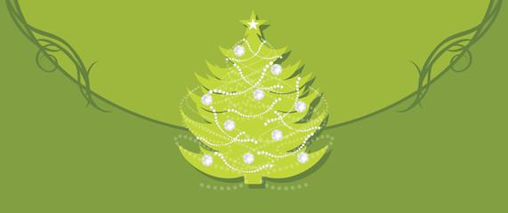 Shining Christmas fir tree on the green background. Border