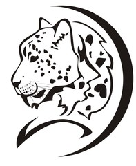 Snow leopard head symbol. Black on the white