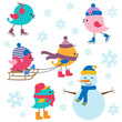 Cute birds winter