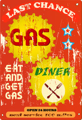 Vintage gas station and diner sign, vector illustration