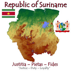Suriname South America national emblem map symbol motto