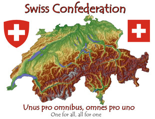 Switzerland Europe national emblem map symbol motto