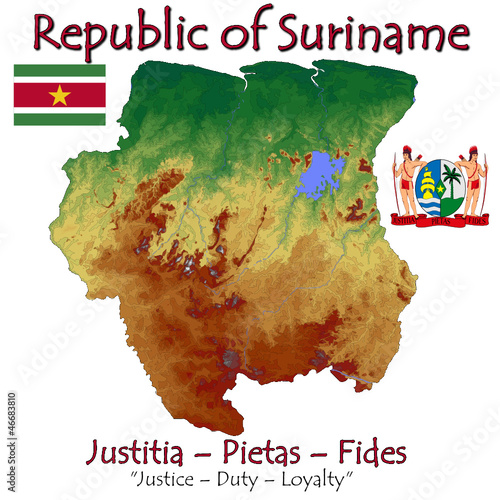 Suriname South America national emblem map symbol motto