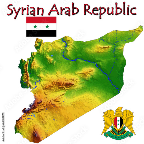 Syria Asia national emblem map symbol motto