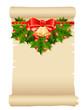 Papierrolle mit Weihnachtsschmuck