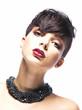Portrait of glamorous young woman - stylish fashion model