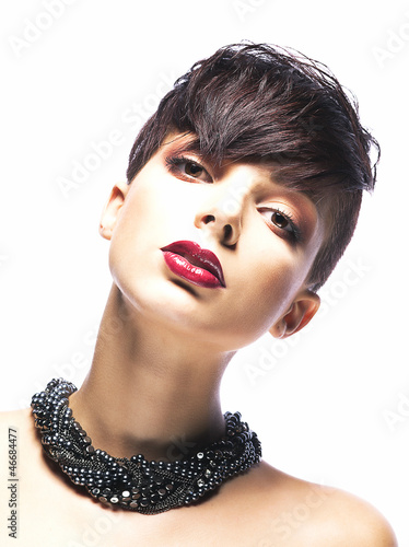 Portrait of glamorous young woman - stylish fashion model