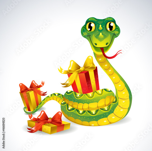 Snake with gifts.