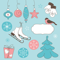 Winter holidays doodles: Christmas and New Year