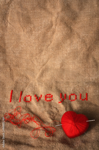 Valentine embroidery with empty space for your text