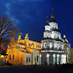 St.Intercession Monastery, Ukraine, Kharkiv; night view
