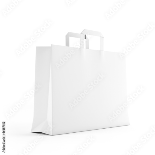 Big white paper bag isolated on white