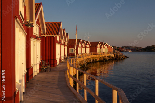 Swedish houses in Skärhamn at Sunset