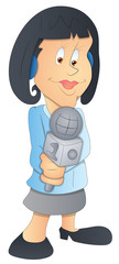 Lady Reporter - Cartoon Character - Vector Illustration