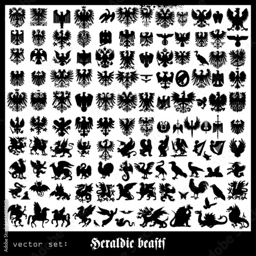 Heraldic beasts with wings
