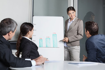 Geschäftsleute hören Präsentation im Büro