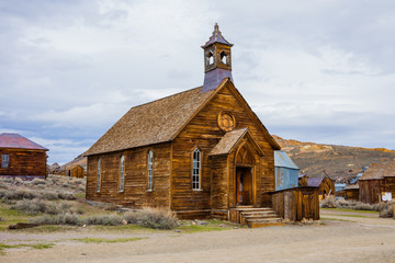 Rustic church building in Bodie town (ghost town), California