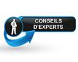 conseils d'experts sur bouton web design bleu