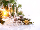 Fototapety New Year Card Design with Champagne. Christmas Celebration
