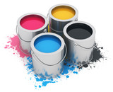 Fototapety Cans with CMYK paint