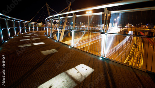 light trails in Modena walking Bridge