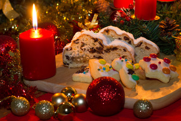 Christmas stollen with advent wreath