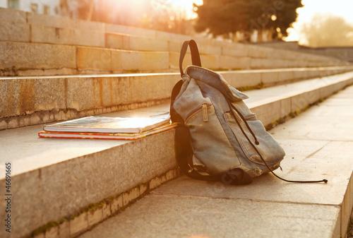 Leinwandbild Motiv Old denim school backpack