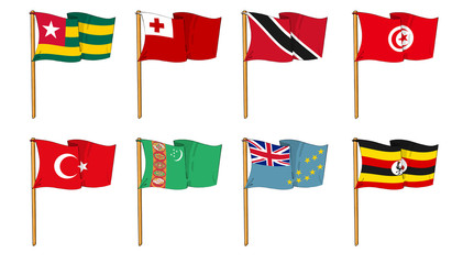 Hand-drawn Flags of the World - letter T & U