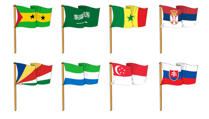 Hand-drawn Flags of the World - letter S