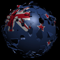 New Zealand flag sphere breaking apart illustration