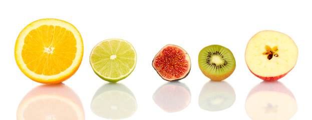 Sliced fruit isolated on white