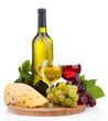 bottle and glasses of wine, assortment of grapes and cheese