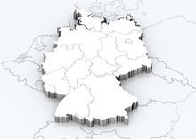"""Постер, картина, фотообои """"Deutschland und angrenzende Länder detailgetreu"""""""