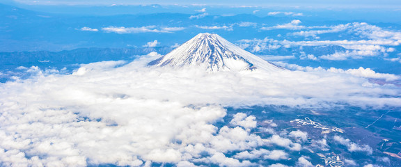 Bird's eye panoramic view of Mount Fuji, Shizuoka, Japan.