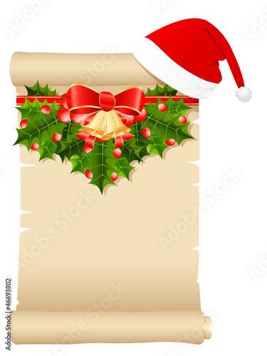 Schriftrolle mit Weihnachtsdekoration