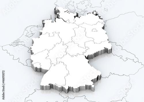 Leinwanddruck Bild Deutschland und angrenzende Länder detailgetreu