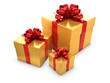 Three Gold Gift boxes with red bows and ribbons