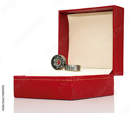 Steel ball bearings in red gift box