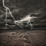 Fototapety Lightning thunderstorm at sea