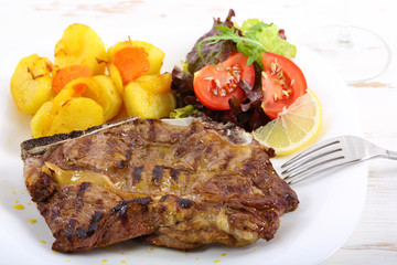 beef chop with aromatic butter sauce