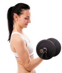 Beautiful woman lifting dumbbell isolated on white background